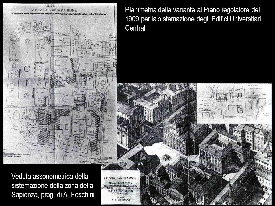 Planimetria della variante al Piano regolatore del 1909 per la sistemazione degli Edifici Universitari Centrali