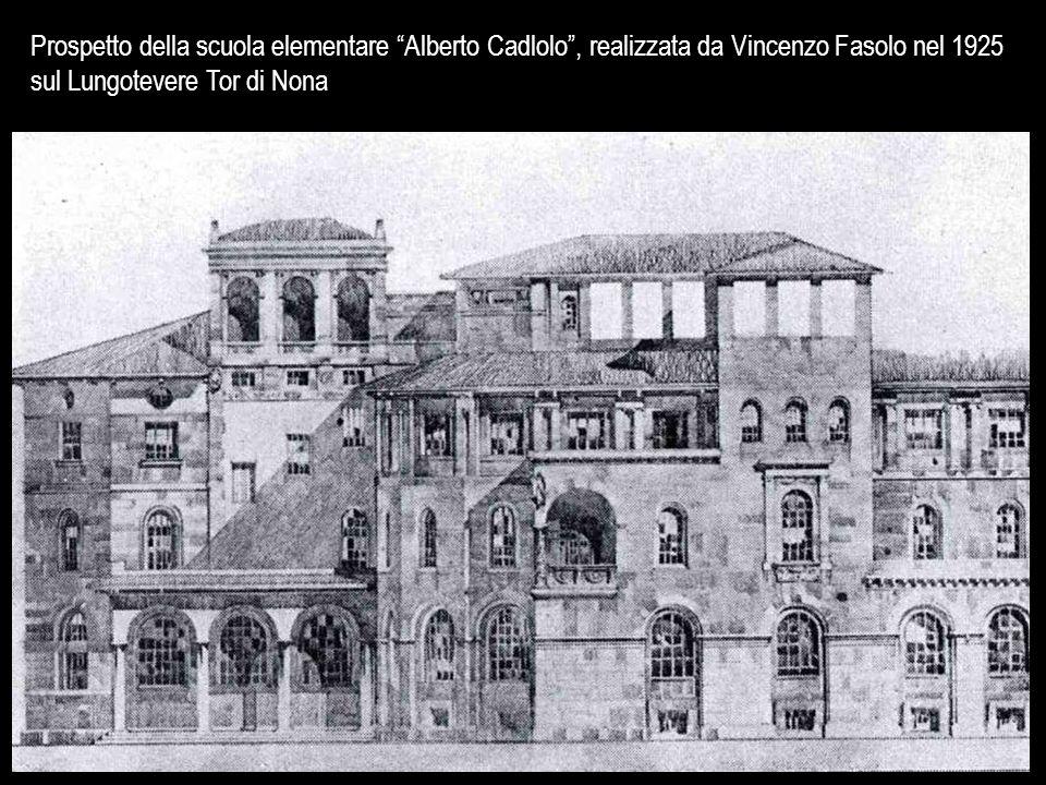 Prospetto della scuola elementare Alberto Cadlolo , realizzata da Vincenzo Fasolo nel 1925 sul Lungotevere Tor di Nona