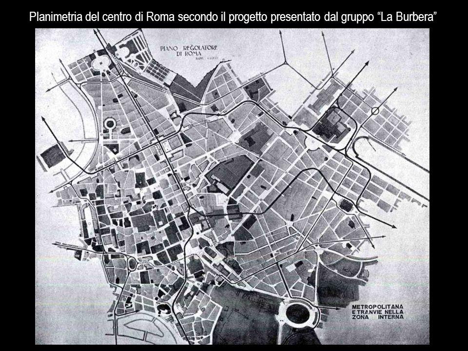 Planimetria del centro di Roma secondo il progetto presentato dal gruppo La Burbera