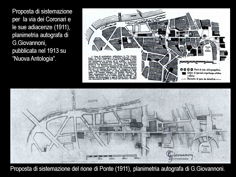 Proposta di sistemazione per la via dei Coronari e le sue adiacenze (1911), planimetria autografa di G.Giovannoni, pubblicata nel 1913 su Nuova Antologia .