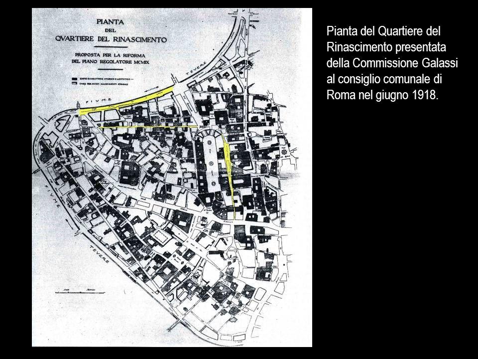 Pianta del Quartiere del Rinascimento presentata della Commissione Galassi al consiglio comunale di Roma nel giugno 1918.