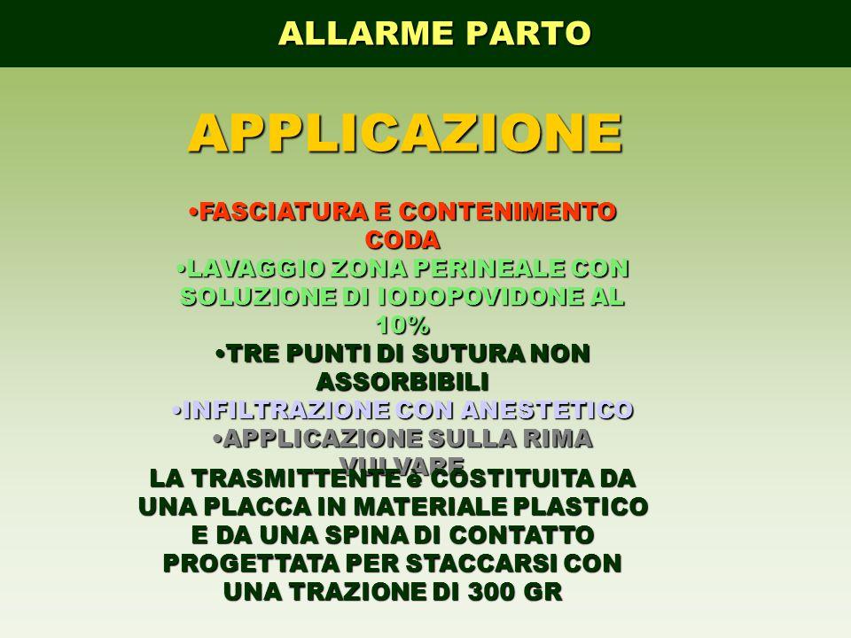 APPLICAZIONE ALLARME PARTO FASCIATURA E CONTENIMENTO CODA