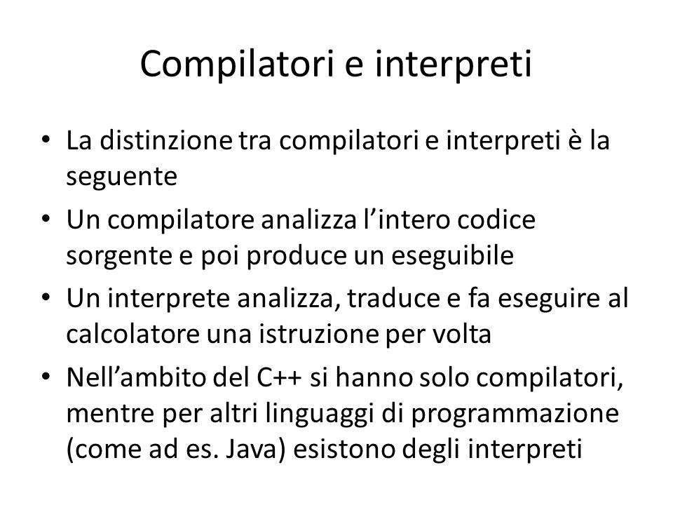 Compilatori e interpreti