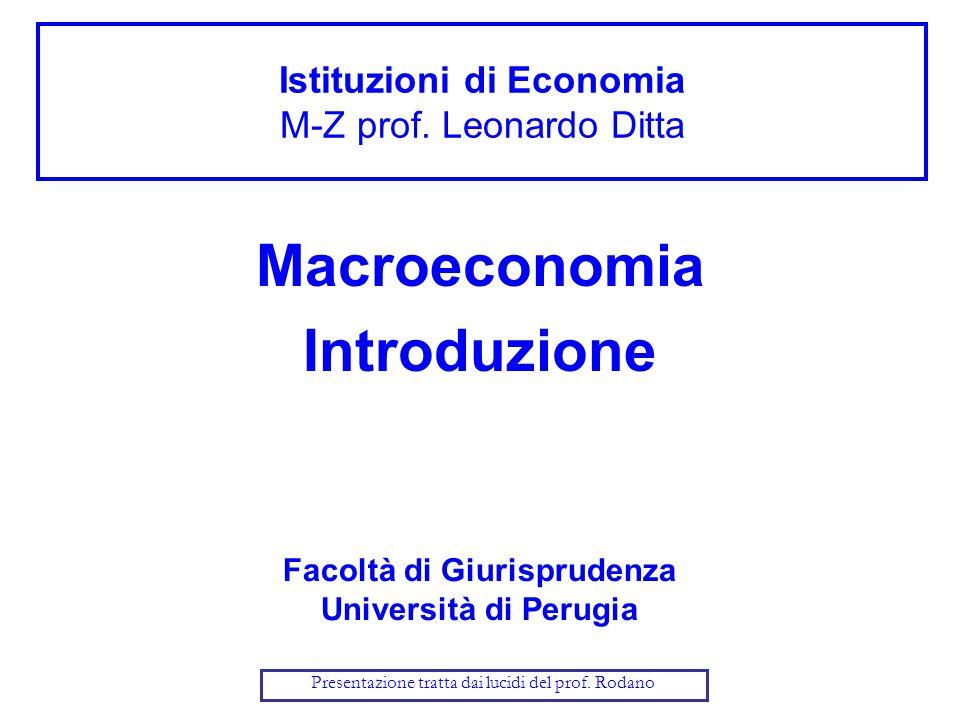 Istituzioni di Economia M-Z prof. Leonardo Ditta