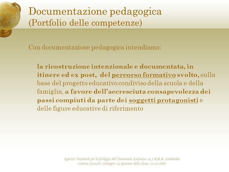 Documentazione pedagogica (Portfolio delle competenze)