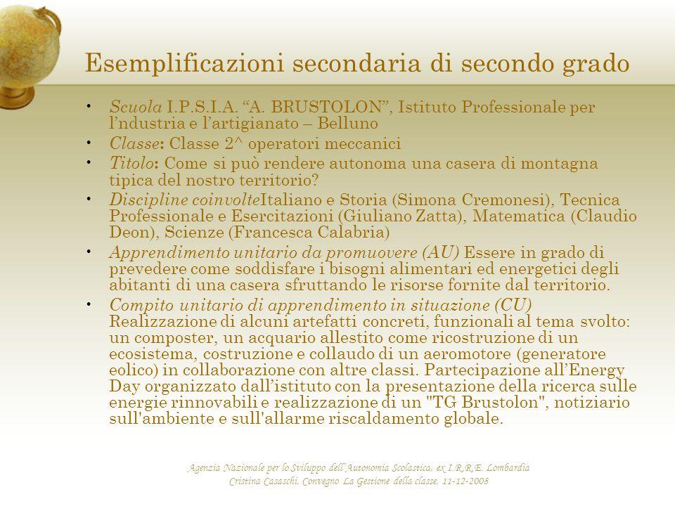 Esemplificazioni secondaria di secondo grado