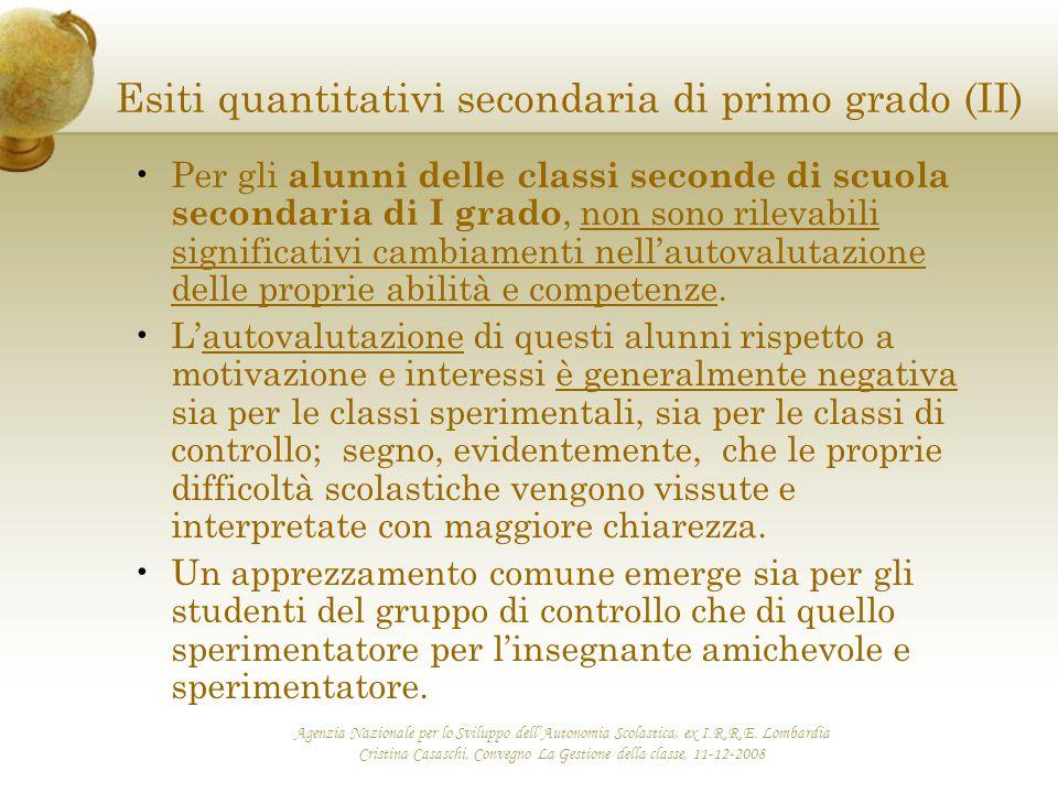 Esiti quantitativi secondaria di primo grado (II)