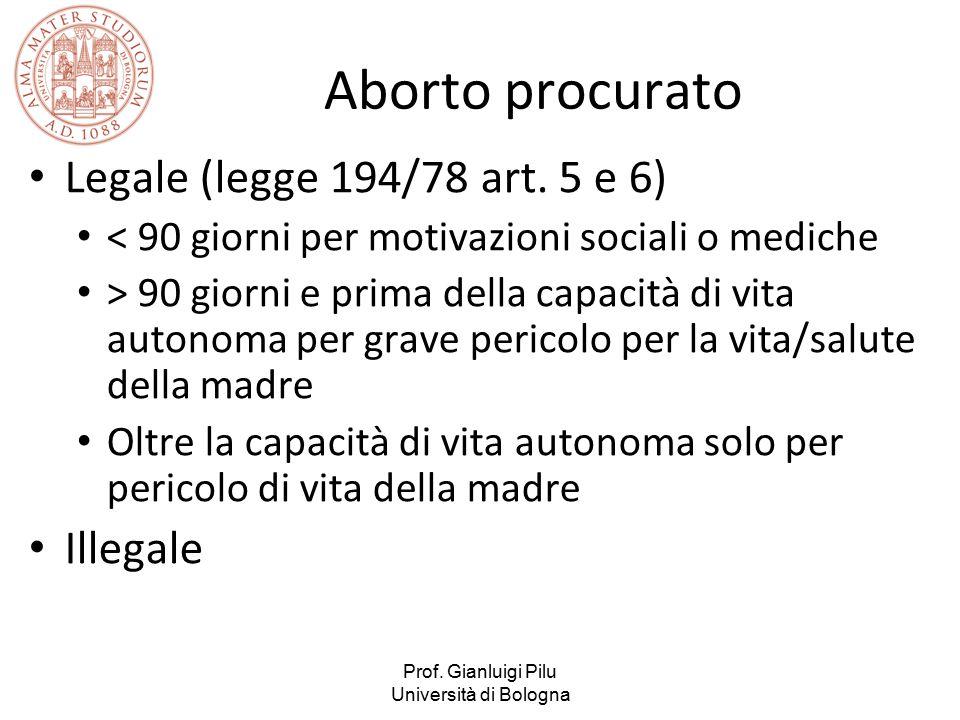 Aborto procurato Legale (legge 194/78 art. 5 e 6) Illegale