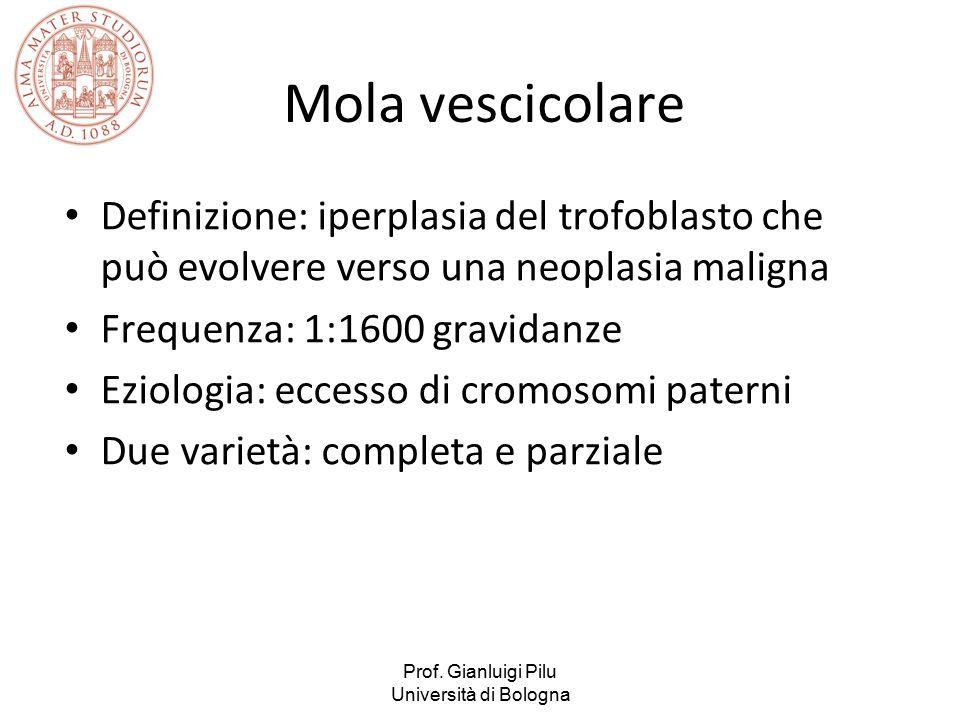 Mola vescicolare Definizione: iperplasia del trofoblasto che può evolvere verso una neoplasia maligna.