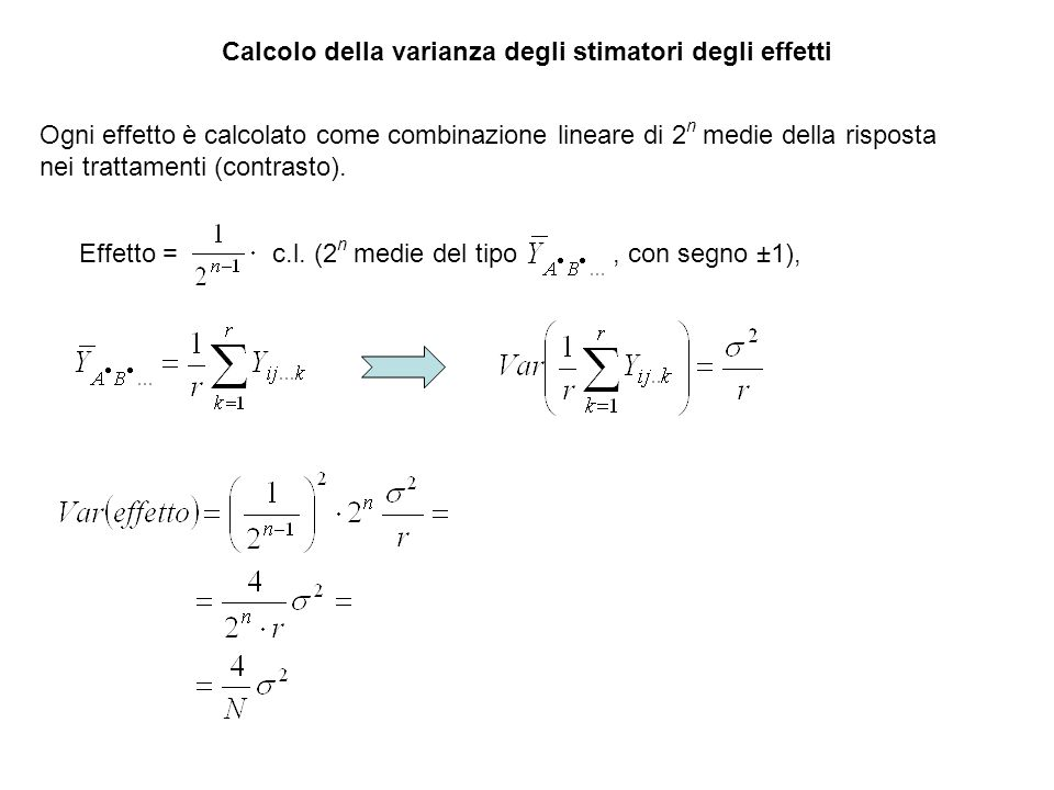 Calcolo della varianza degli stimatori degli effetti