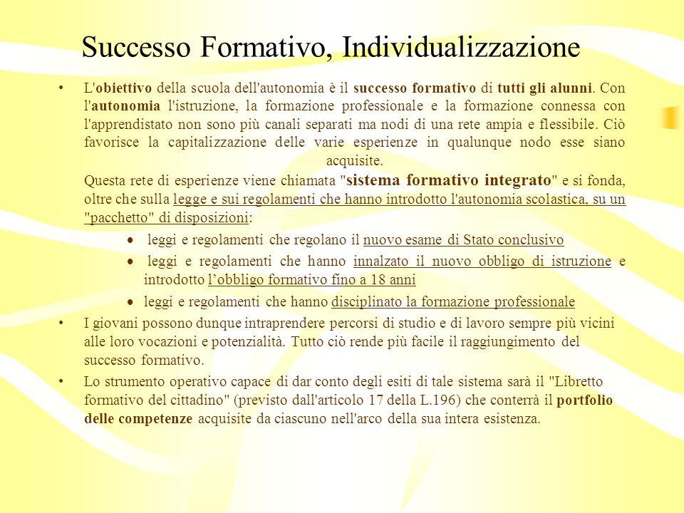 Successo Formativo, Individualizzazione