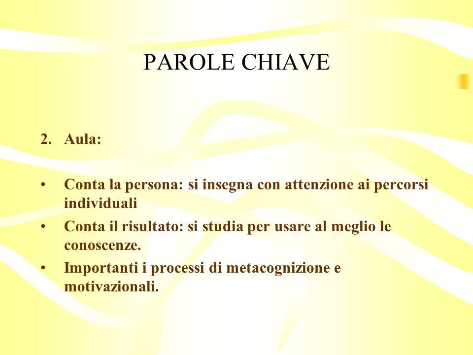 PAROLE CHIAVE Aula: Conta la persona: si insegna con attenzione ai percorsi individuali.
