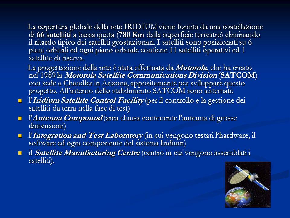 La copertura globale della rete IRIDIUM viene fornita da una costellazione di 66 satelliti a bassa quota (780 Km dalla superficie terrestre) eliminando il ritardo tipico dei satelliti geostazionari. I satelliti sono posizionati su 6 piani orbitali ed ogni piano orbitale contiene 11 satelliti operativi ed 1 satellite di riserva.