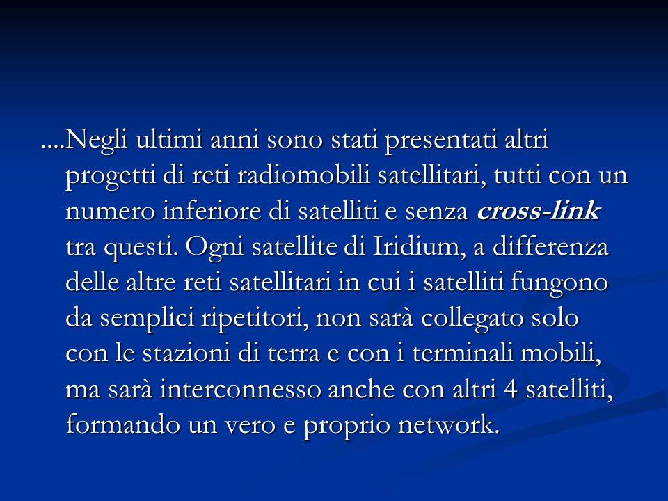 ....Negli ultimi anni sono stati presentati altri progetti di reti radiomobili satellitari, tutti con un numero inferiore di satelliti e senza cross-link tra questi.