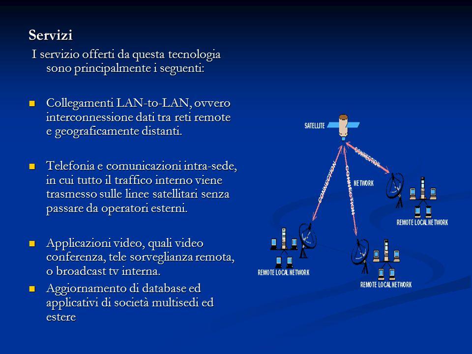 Servizi I servizio offerti da questa tecnologia sono principalmente i seguenti:
