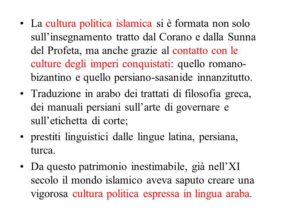 La cultura politica islamica si è formata non solo sull'insegnamento tratto dal Corano e dalla Sunna del Profeta, ma anche grazie al contatto con le culture degli imperi conquistati: quello romano-bizantino e quello persiano-sasanide innanzitutto.
