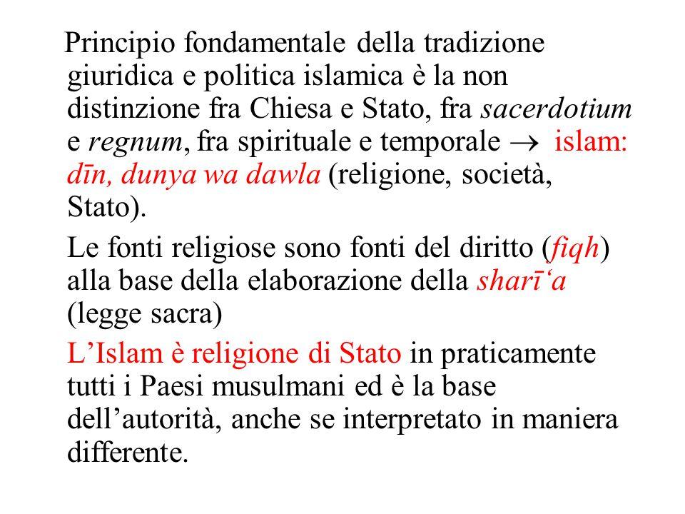 Principio fondamentale della tradizione giuridica e politica islamica è la non distinzione fra Chiesa e Stato, fra sacerdotium e regnum, fra spirituale e temporale  islam: dīn, dunya wa dawla (religione, società, Stato).