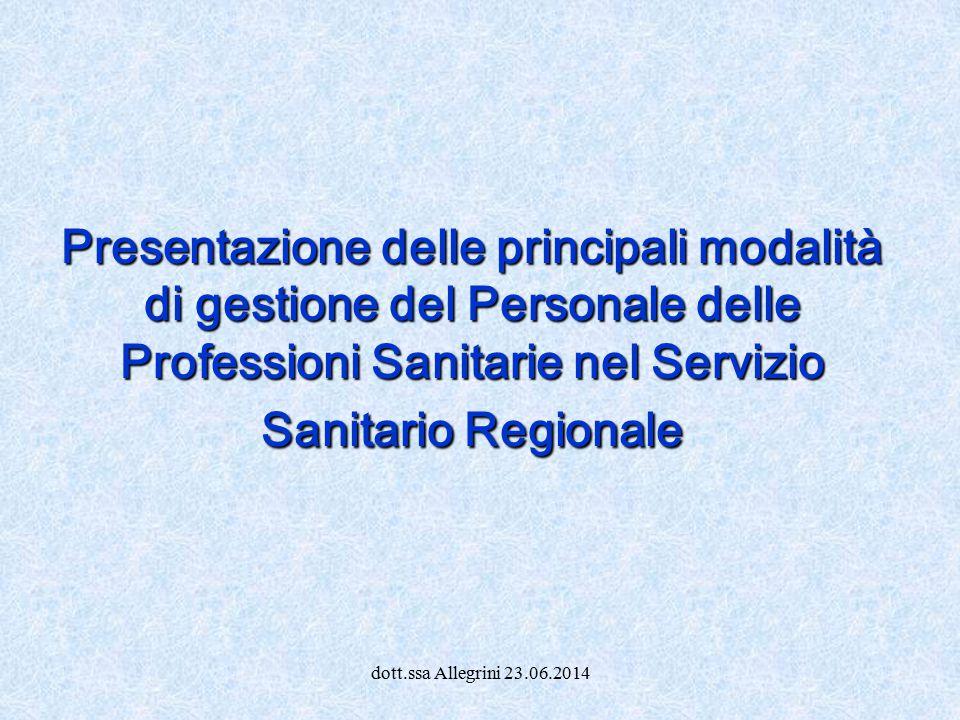 Presentazione delle principali modalità di gestione del Personale delle Professioni Sanitarie nel Servizio Sanitario Regionale