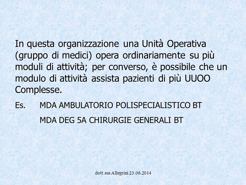 In questa organizzazione una Unità Operativa (gruppo di medici) opera ordinariamente su più moduli di attività; per converso, è possibile che un modulo di attività assista pazienti di più UUOO Complesse.