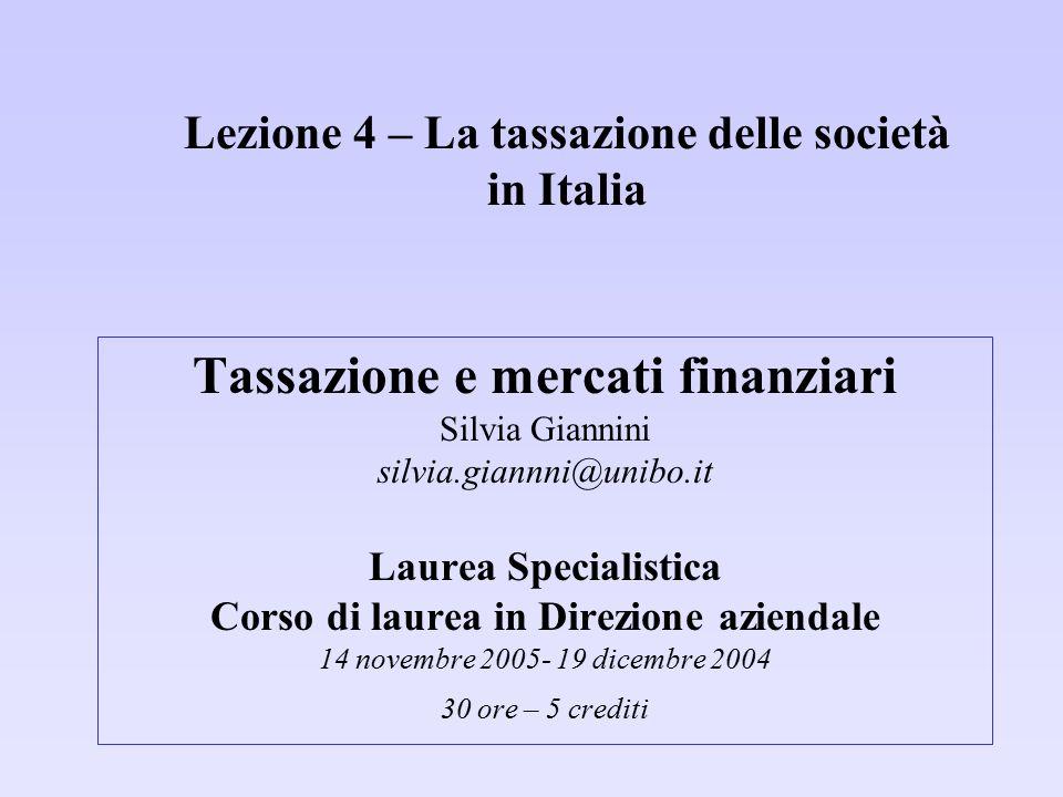 Lezione 4 – La tassazione delle società in Italia