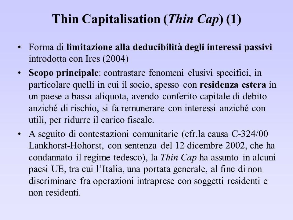 Thin Capitalisation (Thin Cap) (1)