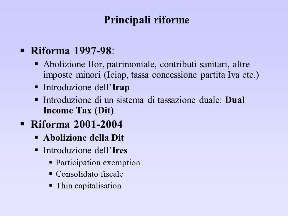 Principali riforme Riforma 1997-98: Riforma 2001-2004
