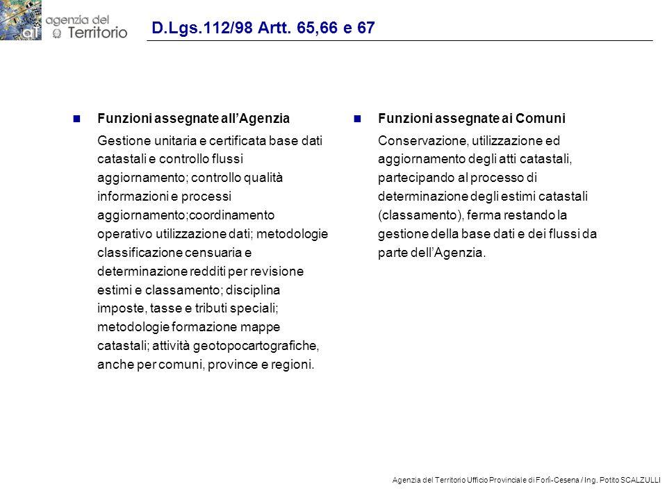 D.Lgs.112/98 Artt. 65,66 e 67 Funzioni assegnate all'Agenzia