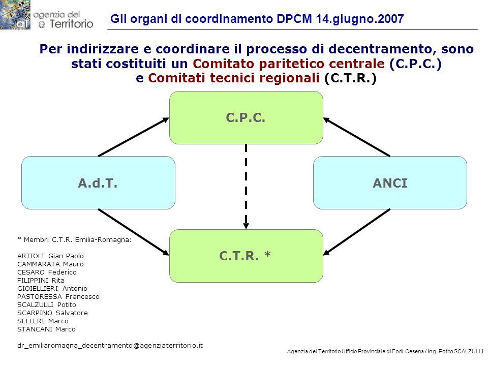 Gli organi di coordinamento DPCM 14.giugno.2007
