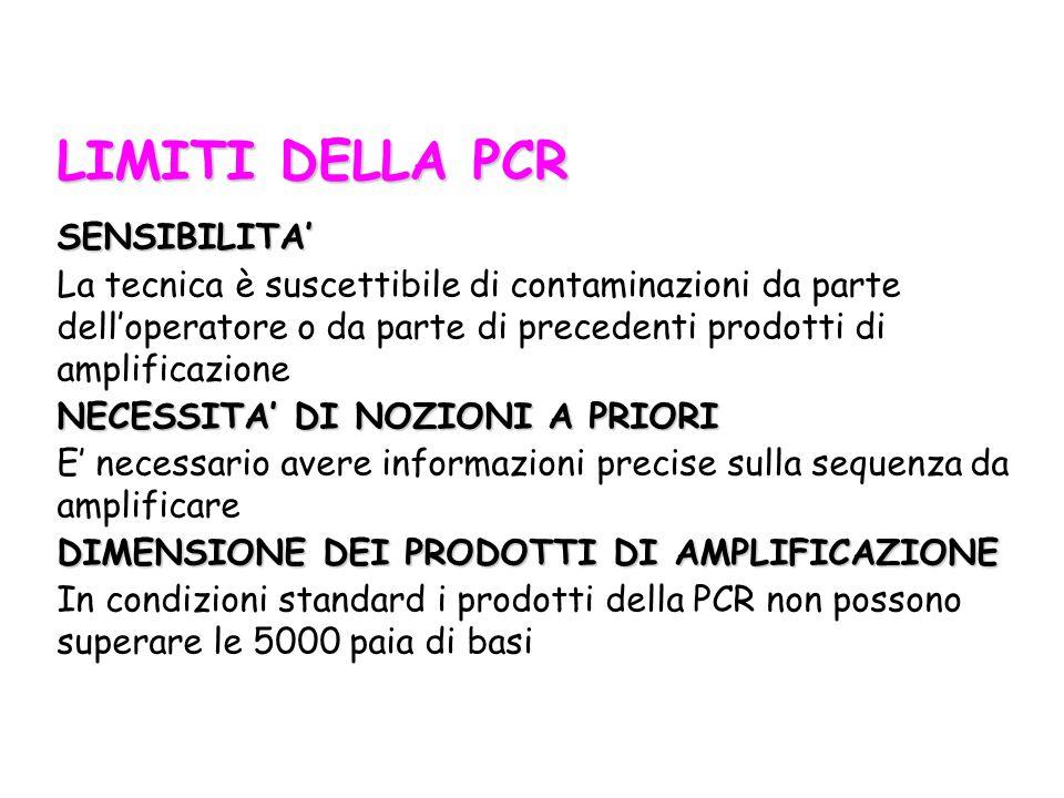 LIMITI DELLA PCR SENSIBILITA'