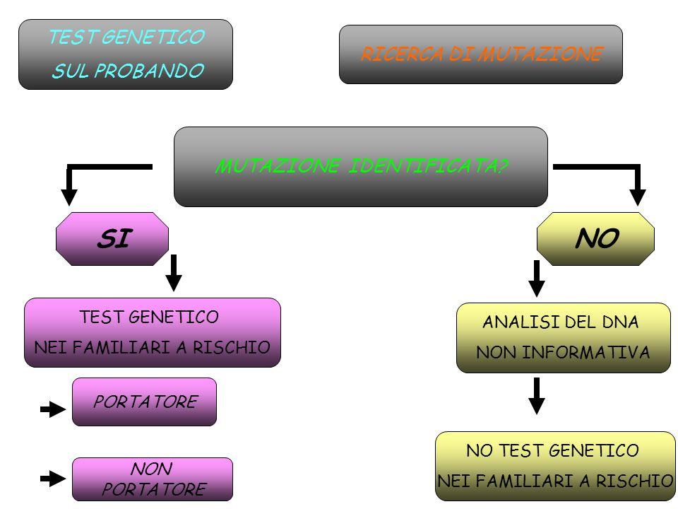 SI NO TEST GENETICO SUL PROBANDO RICERCA DI MUTAZIONE