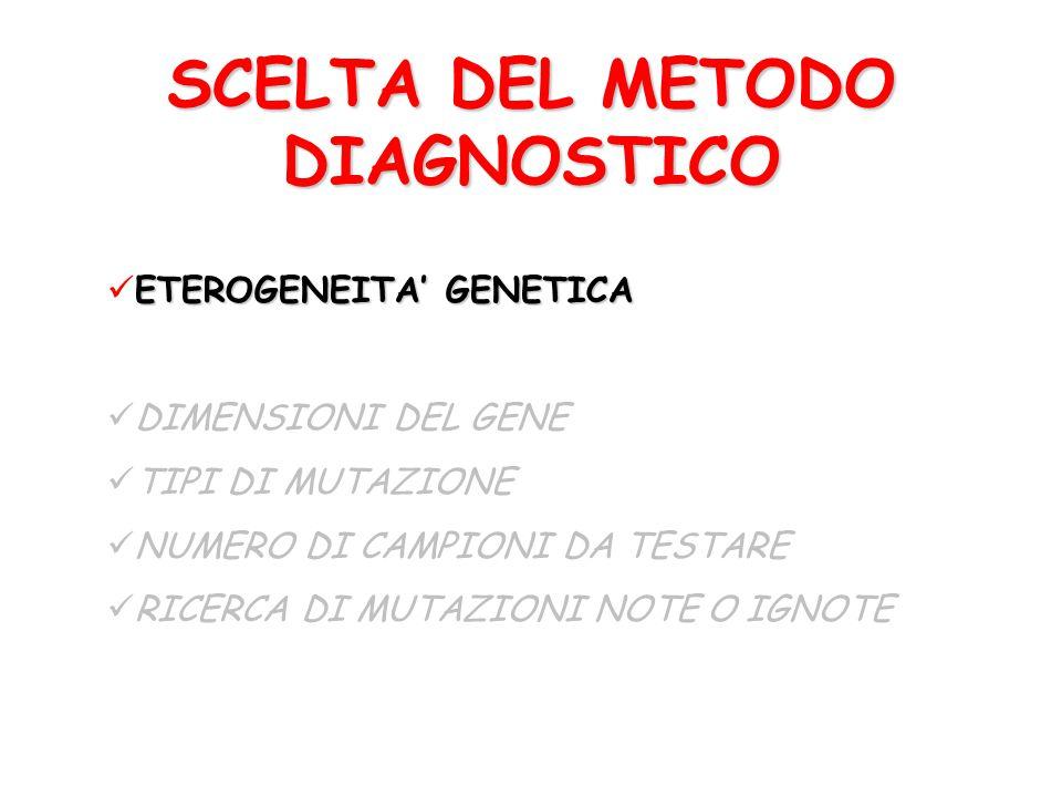 SCELTA DEL METODO DIAGNOSTICO