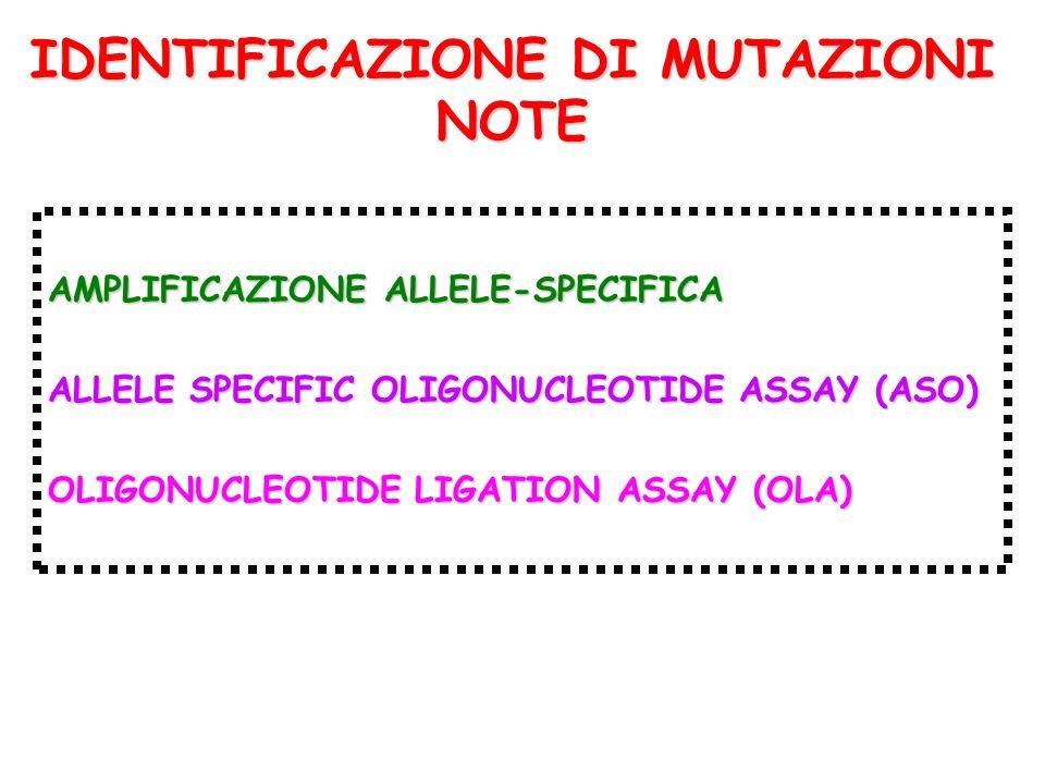 IDENTIFICAZIONE DI MUTAZIONI NOTE