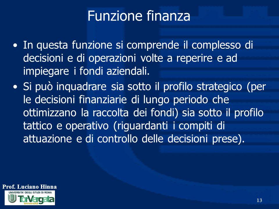Funzione finanza In questa funzione si comprende il complesso di decisioni e di operazioni volte a reperire e ad impiegare i fondi aziendali.