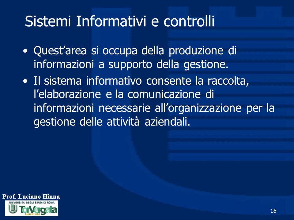 Sistemi Informativi e controlli