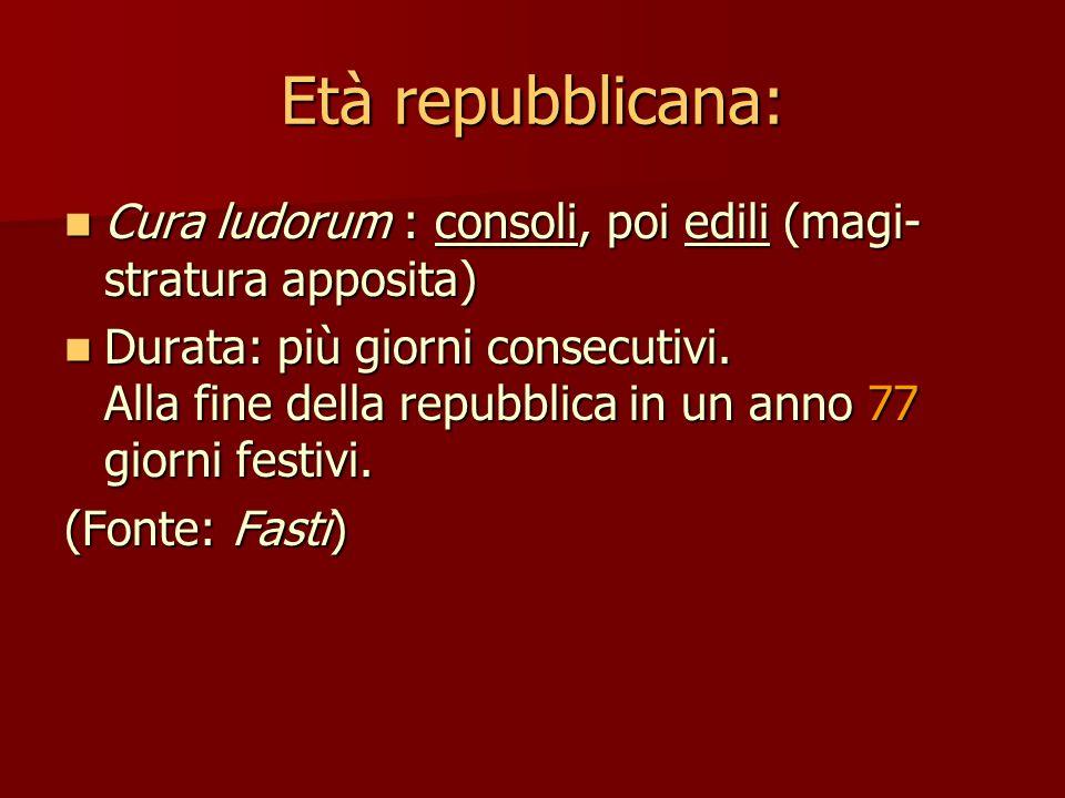 Età repubblicana: Cura ludorum : consoli, poi edili (magi-stratura apposita)