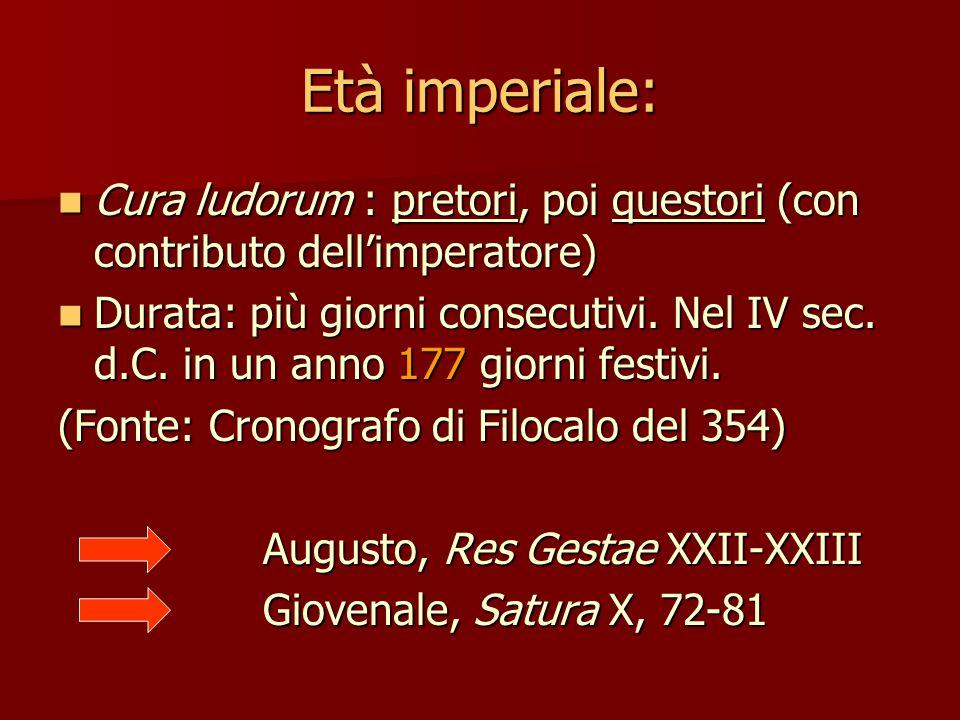 Età imperiale: Cura ludorum : pretori, poi questori (con contributo dell'imperatore)