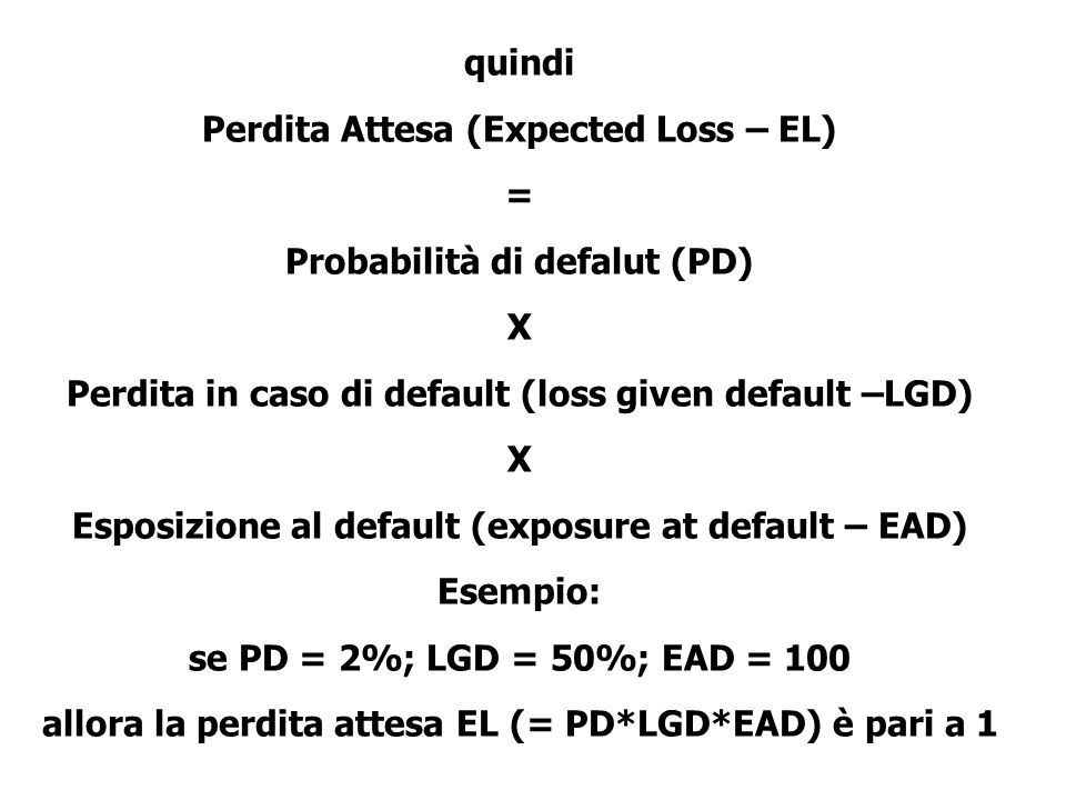 Perdita Attesa (Expected Loss – EL) = Probabilità di defalut (PD) X