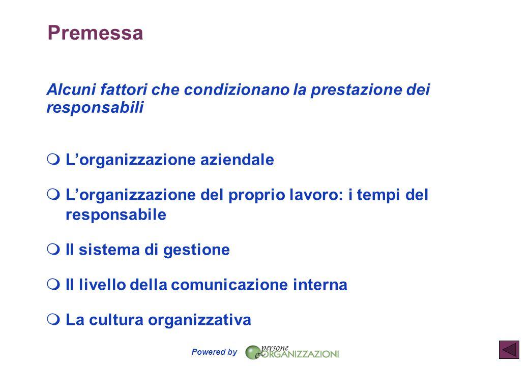 Premessa Alcuni fattori che condizionano la prestazione dei responsabili. L'organizzazione aziendale.