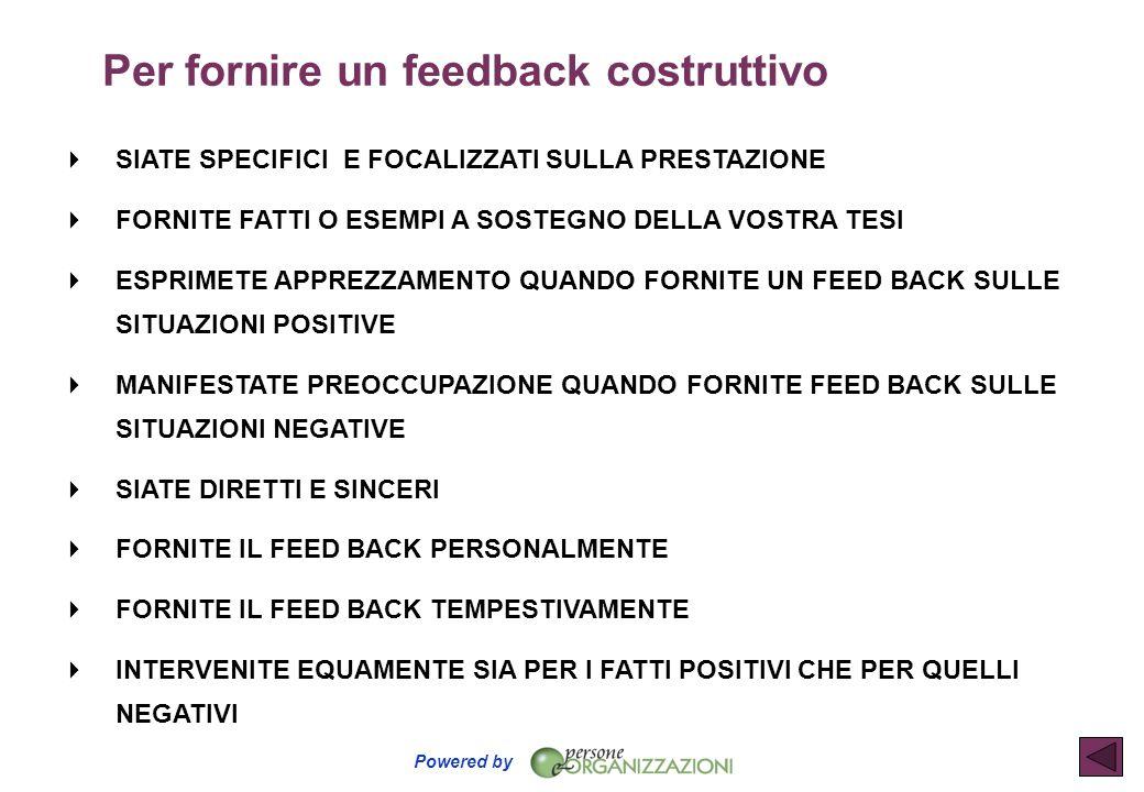 Per fornire un feedback costruttivo
