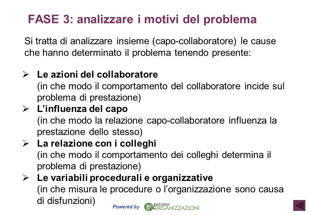 FASE 3: analizzare i motivi del problema