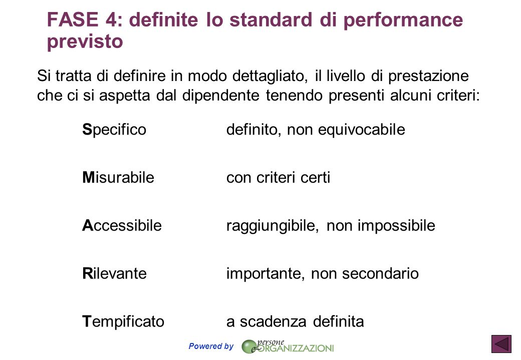 FASE 4: definite lo standard di performance previsto