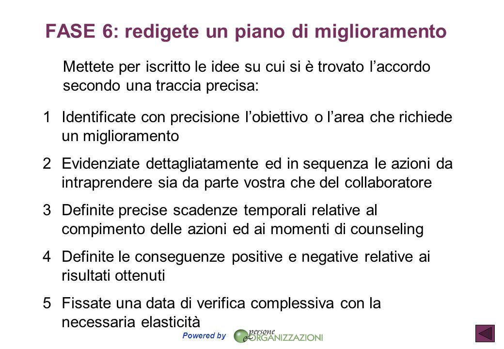 FASE 6: redigete un piano di miglioramento