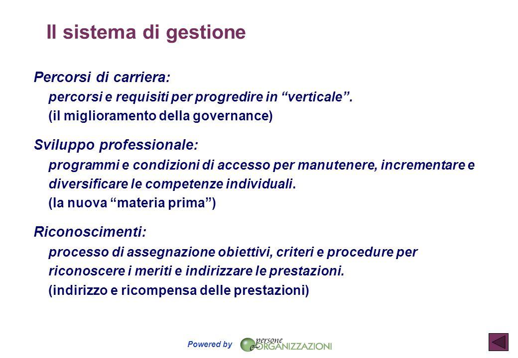Il sistema di gestione Percorsi di carriera: percorsi e requisiti per progredire in verticale . (il miglioramento della governance)