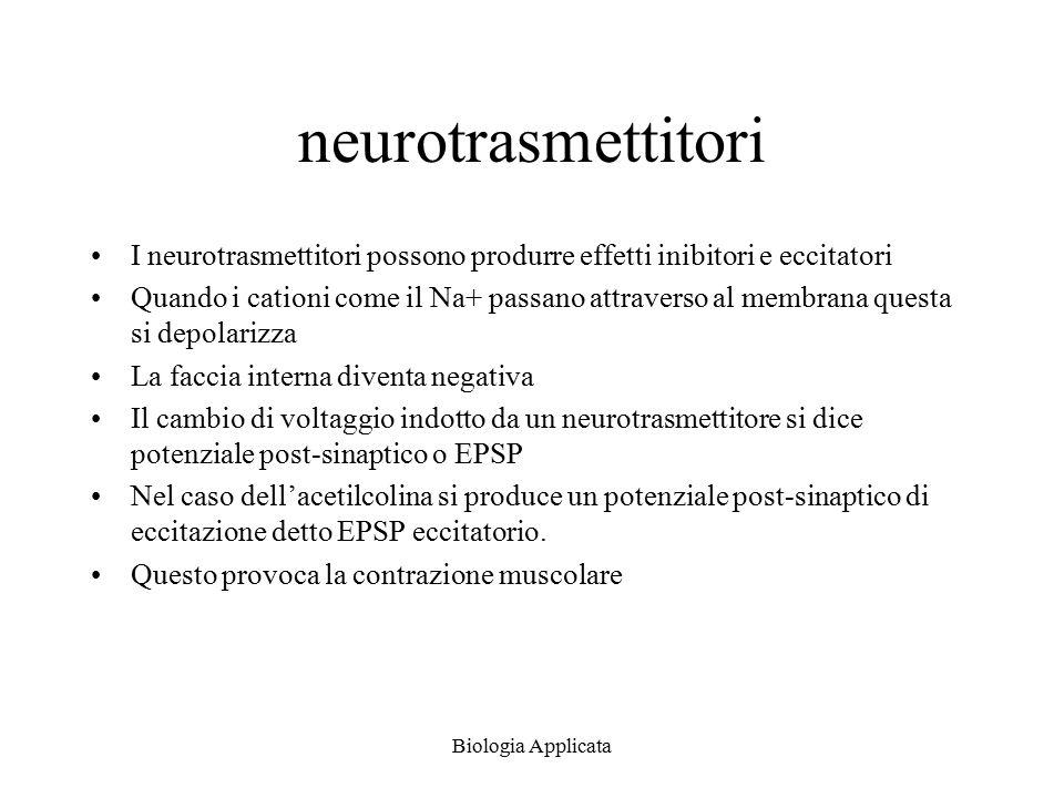 neurotrasmettitori I neurotrasmettitori possono produrre effetti inibitori e eccitatori.