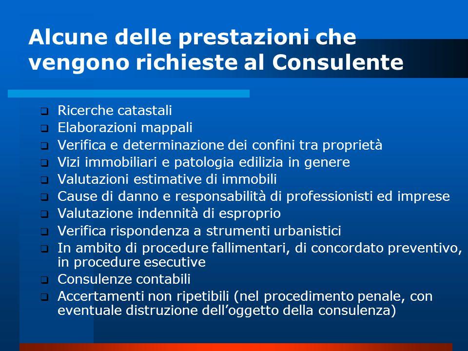 Alcune delle prestazioni che vengono richieste al Consulente
