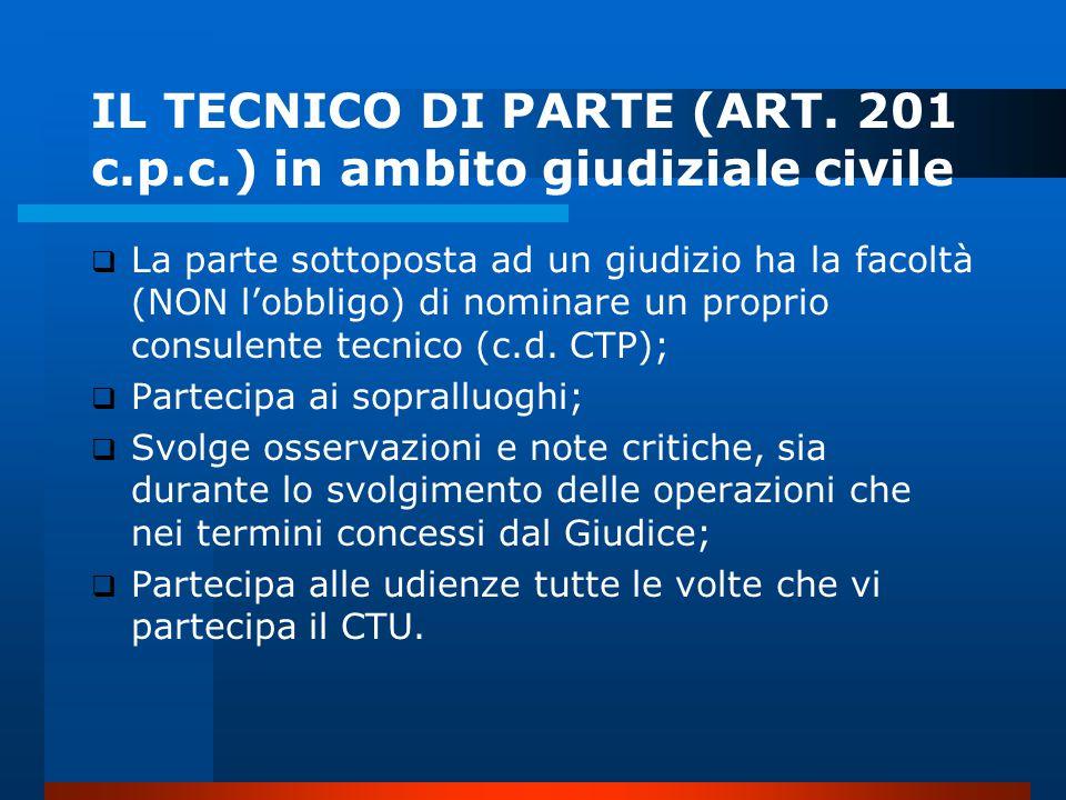 IL TECNICO DI PARTE (ART. 201 c.p.c.) in ambito giudiziale civile
