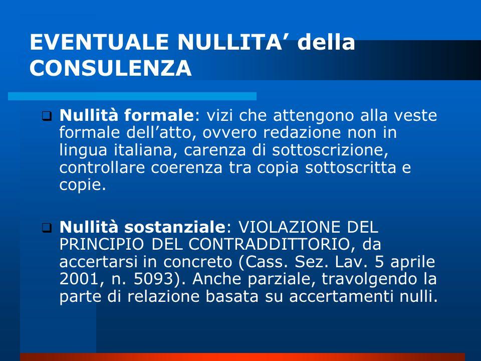 EVENTUALE NULLITA' della CONSULENZA
