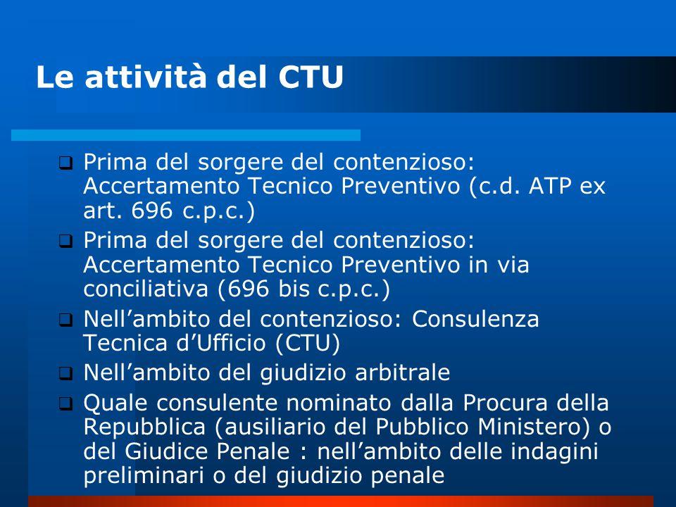 Le attività del CTU Prima del sorgere del contenzioso: Accertamento Tecnico Preventivo (c.d. ATP ex art. 696 c.p.c.)
