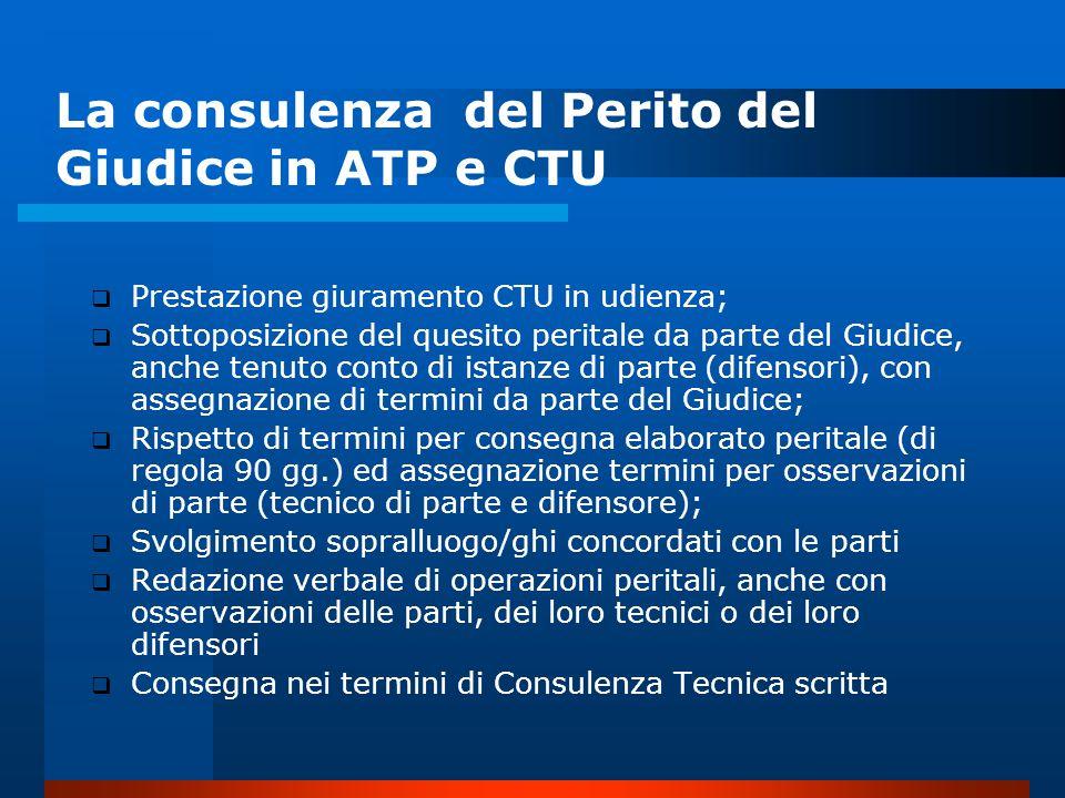 La consulenza del Perito del Giudice in ATP e CTU
