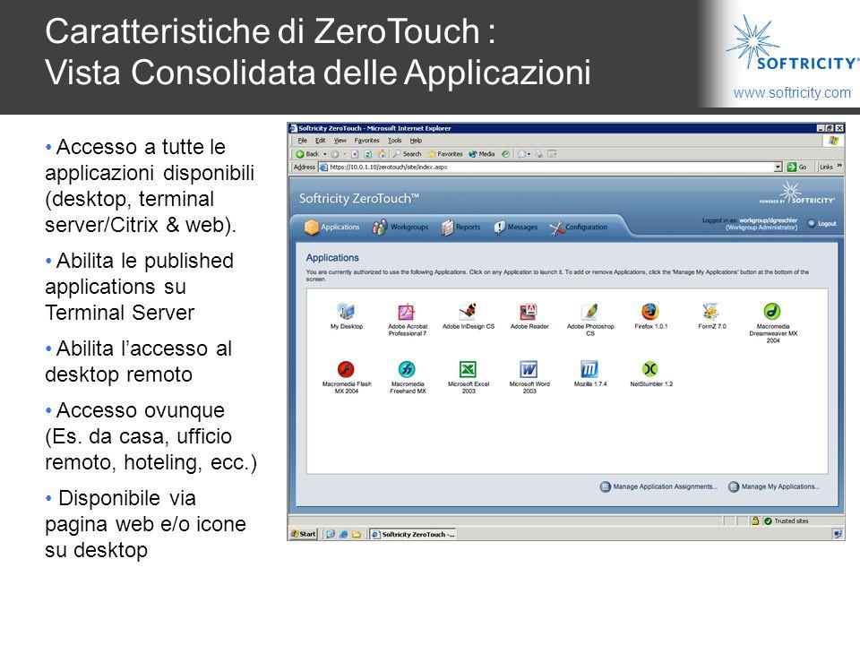 Caratteristiche di ZeroTouch : Vista Consolidata delle Applicazioni